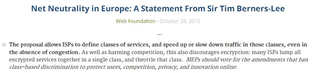 Auszug der Erklärung von Tim Berners-Lee zur Netzneutralität (Quelle: Web Foundation)